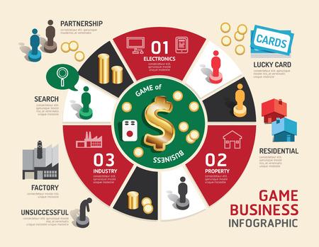 brettspiel: Business-Brettspiel-Konzept Infografik Schritt zu einer erfolgreichen, Vektor-Illustration
