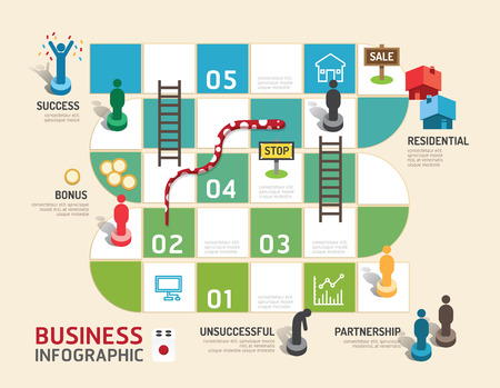 Business-Brettspiel-Konzept Infografik Schritt zu einer erfolgreichen, Vektor-Illustration Standard-Bild - 36934543