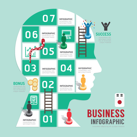 Business board game concept infographic step to successful,head shap vector illustration