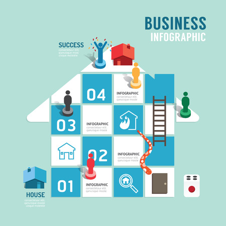 property management: Business board game concept infographic step to successful,property vector illustration Illustration