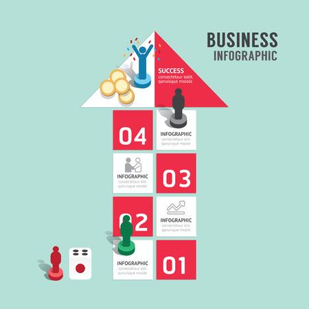 brettspiel: Business-Brettspiel-Konzept Infografik Schritt zu einer erfolgreichen, Pfeil shap Vektor-Illustration
