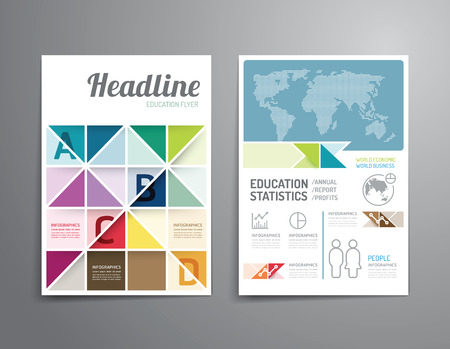 leaflet: Vector brochure, flyer, magazine cover booklet poster design template.layout education annual report A4 size. Illustration