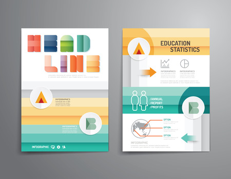 web template: Vector brochure, flyer, magazine cover booklet poster design template.layout education annual report A4 size. Illustration