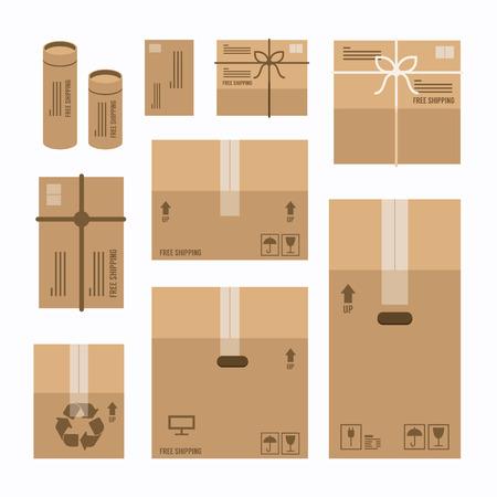 present box: paper boxes set product package mockup design,vector Illustration
