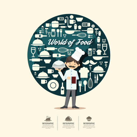 kitchen cartoon: Iconos planas con dise�o de personajes cocinero infograf�a, cocinar alimentos concepto de ilustraci�n vectorial