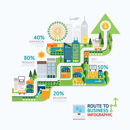 city background: Infographic business arrow shape template design.route to success concept vector illustration  graphic or web design layout. Illustration