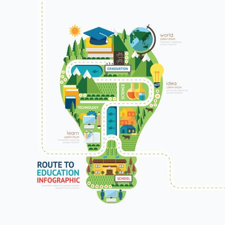 教育: 教育信息圖表燈泡形狀模板design.learn概念向量插圖圖形或網頁設計佈局。