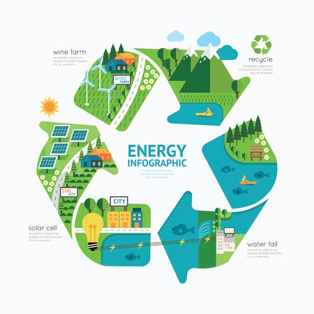 to recycle: Plantilla de la energía Infografía mundo design.protect concepto de ilustración vectorial de energía