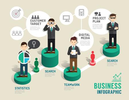 Zakelijke bordspel begrip infographic stap naar succesvolle, vector illustratie