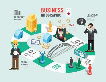tablero: Junta de negocios concepto de juego paso infografía para el éxito, ilustración vectorial