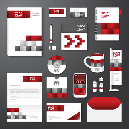 Vector brochure, flyer, magazine cover booklet poster design template layout business stationery annual report A4 size set of corporate identity template. Vector