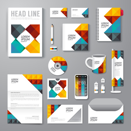 Vector brochure, flyer, magazine cover booklet poster design template layout business stationery annual report A4 size set of corporate identity template. Illustration
