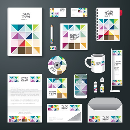 report card: Vector brochure, flyer, magazine cover booklet poster design template layout business stationery annual report A4 size set of corporate identity template. Illustration