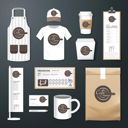 ベクトル レストラン カフェ設定、チラシ、メニューのパッケージ、t シャツ、キャップ、ユニフォーム デザイン企業の id テンプレートのレイアウ  イラスト・ベクター素材