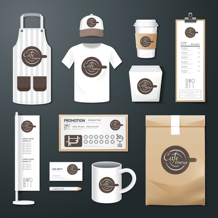 delantal: Vector restaurante café puestas folleto, carta, paquete, camiseta, gorra, uniforme Escenografía  diseño de la plantilla de identidad corporativa.