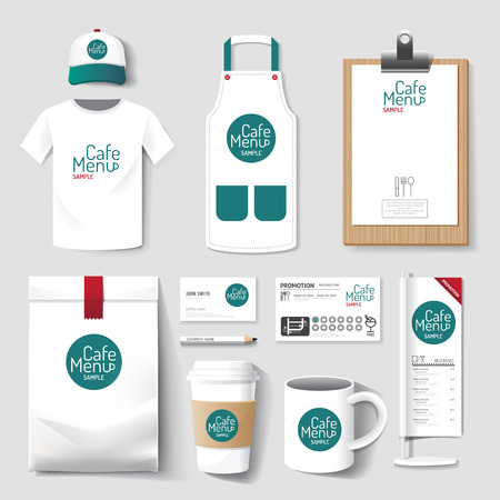 up: Vector restaurant cafe set flyer, menu, package, t-shirt, cap, uniform design layout set of corporate identity mock up template. Illustration