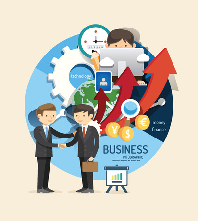handshake icon: Boy learn business and finance design infographic,learn concept vector illustration