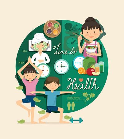 健康と美容に男の子と女の子の時間インフォ グラフィック デザイン、ベクター グラフィックの概念を学ぶ  イラスト・ベクター素材