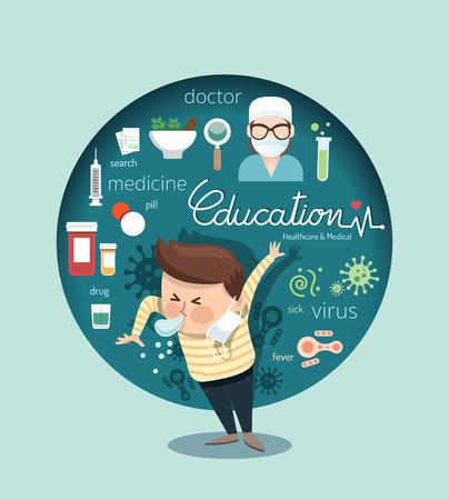 chory: Chłopiec kichnąć z opieki zdrowotnej i medycznej wirusa projektowania infographic, nauczyć ilustracji wektorowych koncepcji