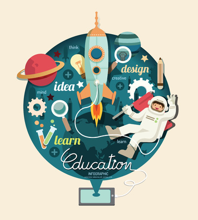 astronauta: Muchacho en el espacio con la educación cohete diseño infográfico, aprender concepto ilustración vectorial