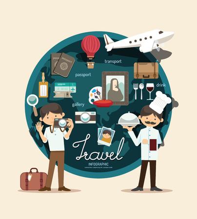graduacion caricatura: Plan de viaje del muchacho en el diseño infográfico vacaciones, aprender concepto ilustración vectorial