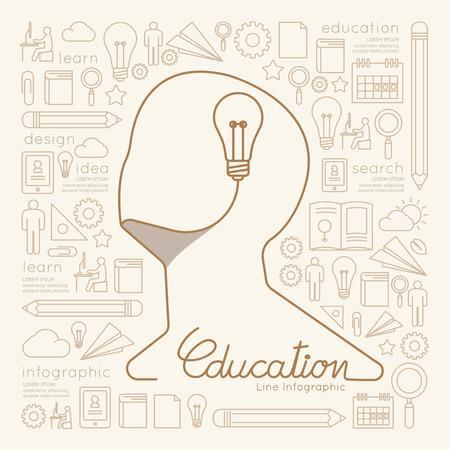 Wohnung lineare Infografik Education Man Kreatives Denken mit Glühbirne Gliederung Konzept.Vektor Illustration.