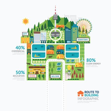 インフォ グラフィック ビジネス建物の家の図形テンプレート design.route 成功概念ベクトル イラストにグラフィックや web デザイン レイアウト。  イラスト・ベクター素材