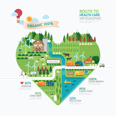 farm landscape: Infographic health care heart shape template design.route to healthy concept vector illustration  graphic or web design layout.