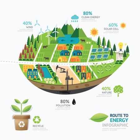 Infografía hoja energía plantilla de forma design.route limpiar concepto de energía ilustración vectorial / diseño gráfico o diseño web.
