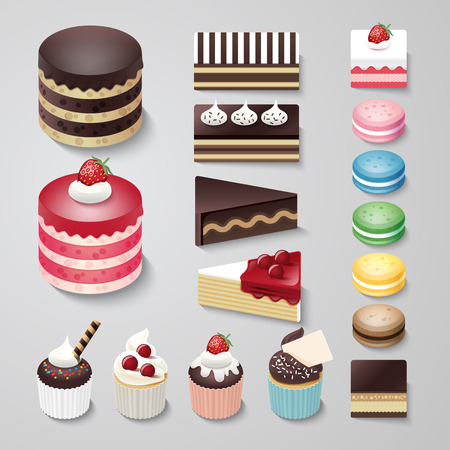 cup cakes: Cakes flat design dessert bakery vector set  illustration