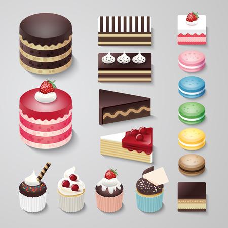 chocolate cakes: Cakes flat design dessert bakery vector set  illustration