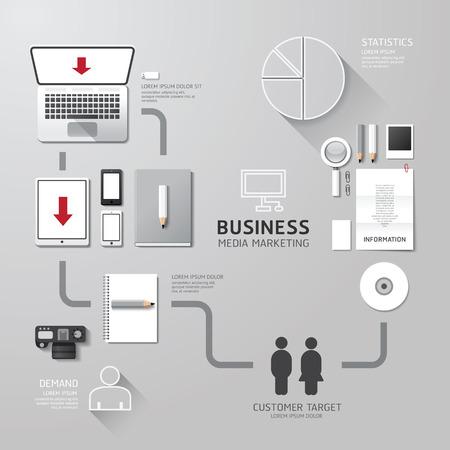 Vector business infographic corporate identity set design layout set of social media technology digital marketing concept.illustration Vector