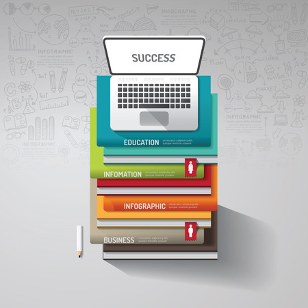 learning concept: Infographic books step with doodles line drawing and notebook idea. Vector illustration.success concept.can be used for layout, banner and web design. Illustration