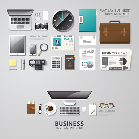 lay: Infographic business office tools flat lay idea. Vector illustration hipster concept. can be used for layout, advertising and web design.