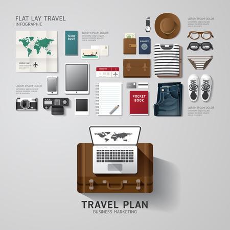 인포 그래픽 여행 사업 평면 누워 생각. 벡터 일러스트 레이 션 힙 스터 레이아웃, 광고 및 웹 디자인에 사용할 수 concept.can.