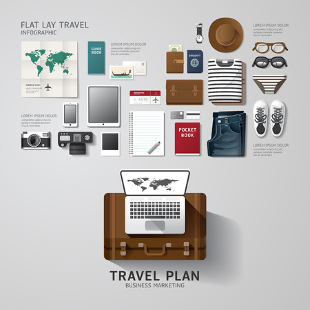 Infographic travel business flat lay idea. Vector illustration hipster concept.can be used for layout, advertising and web design. Vector