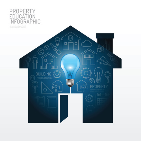 Infographic house with light bulb flat line idea. Vector illustration.education building property concept.can be used for layout, banner and web design.
