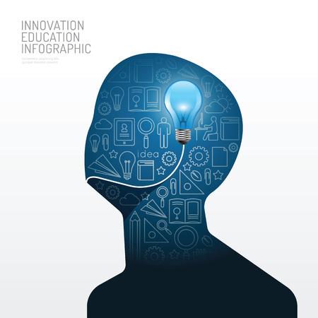 컨셉: 전구 평면 라인 아이디어와 인포 그래픽 남자. 벡터 illustration.education 혁신 레이아웃, 배너 및 웹 디자인에 사용할 수 concept.can.