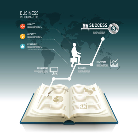Open book infographic business step paper graph line idea to success vector illustration. business concept.can be used for layout, banner and web design. Vector
