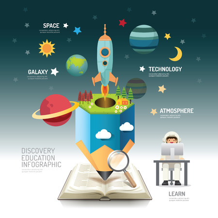 graduacion caricatura: Libro abierto atmósfera infografía lápiz con la ilustración del cohete vector. educación discovery.can ser utilizado para el diseño, la bandera y el diseño web.