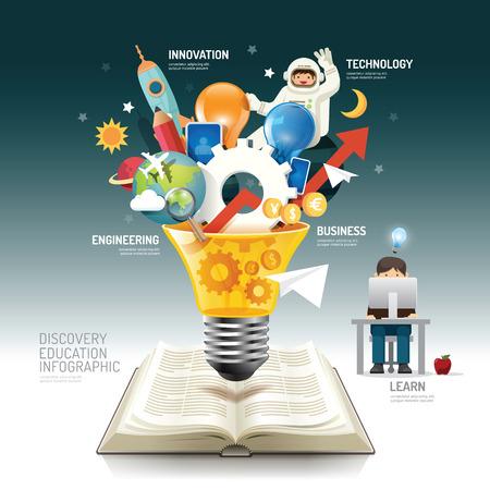 cohetes: Libro abierto idea innovaci�n infograf�a en bombilla ilustraci�n vectorial. innovaci�n concept.can ser utilizado para el dise�o, la bandera y el dise�o web. Vectores