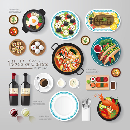 food and beverages: Infographic food business flat lay idea. Vector illustration hipster concept.can be used for layout, advertising and web design.