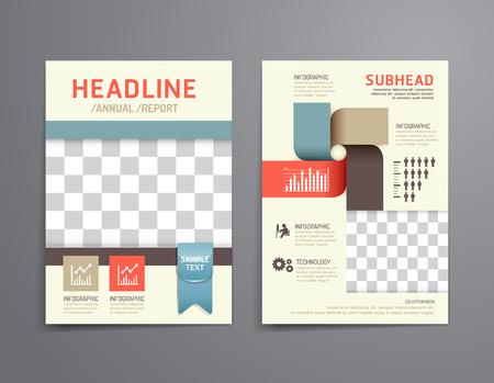 ベクトルのパンフレット、チラシ、雑誌の表紙ブックレット ポスター デザイン template.layout 柔らかい色教育の年次報告書 A4 サイズ。