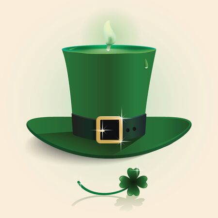 Vector modern design Saint Patricks Day green candle hat with leaf happy smile shape concept. Vector