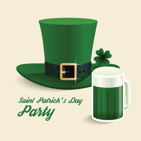clover face: Vector modern design Saint Patricks Day green hat with green beer party.