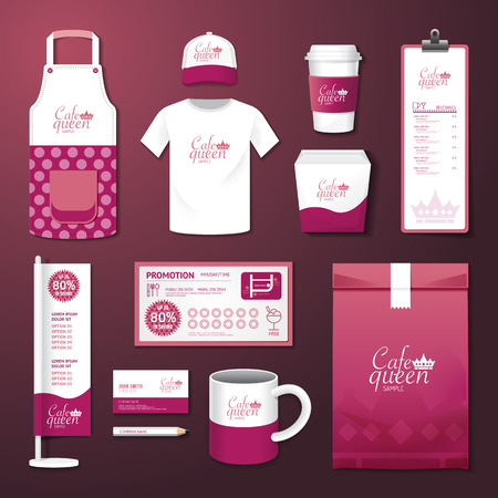bakery products: Vector restaurant cafe set flyer, menu, package, t-shirt, cap, uniform design layout set of corporate identity template.