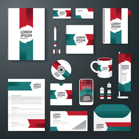 identification card: Vector brochure, flyer, magazine cover booklet poster design template layout business stationery annual report A4 size set of corporate identity template. Illustration