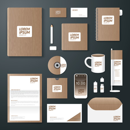 branding: Vector brochure, flyer, magazine cover booklet poster design template layout business stationery annual report A4 size old paper set of corporate identity template.