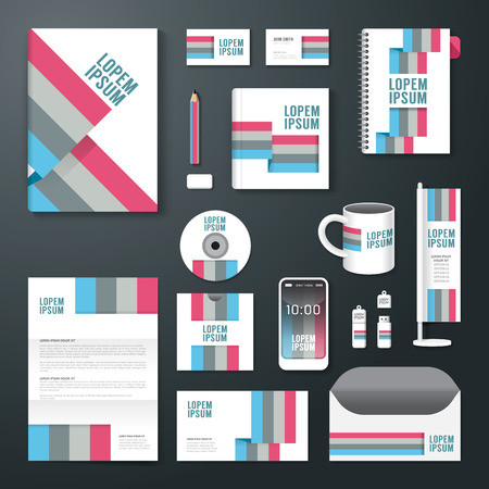report cover design: Vector brochure, flyer, magazine cover booklet poster design template layout business stationery annual report A4 size set of corporate identity template. Illustration