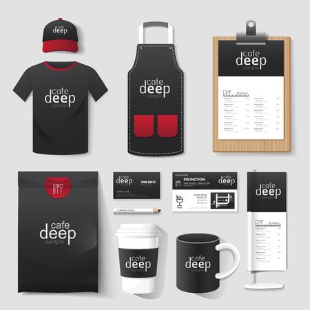 벡터 레스토랑 카페 설정 전단지, 메뉴, 패키지, 티셔츠, 모자, 기업의 정체성 서식 파일의 유니폼 디자인  레이아웃을 설정합니다.